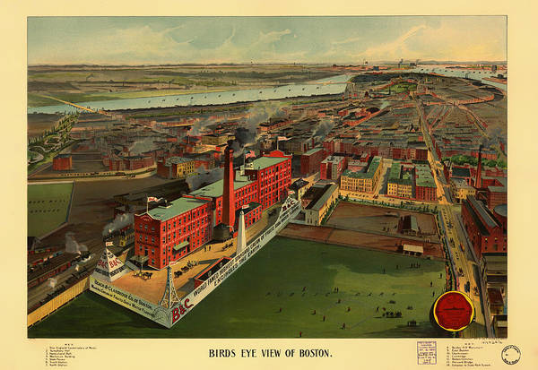 Road Map Photograph - Vintage Boston Illustrative Map 1902 by Mountain Dreams