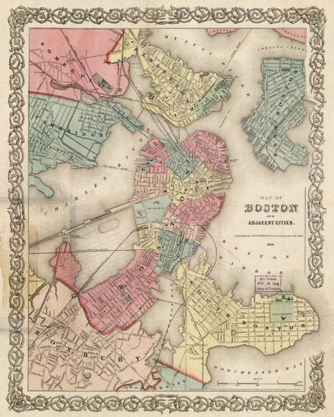 Photograph - Vintage Boston Map 2 by Joann Vitali