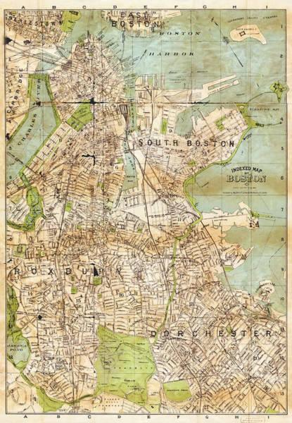 Photograph - Vintage Boston Map  by Joann Vitali