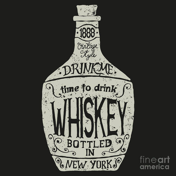 Wall Art - Digital Art - Vintage  Bottle Of Whiskey With by Dimonika