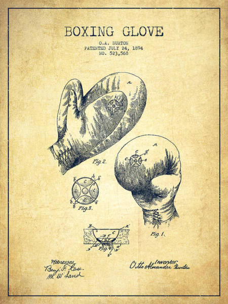 Gloves Digital Art - Vintage Boxing Glove Patent Drawing From 1894 - Vintage by Aged Pixel