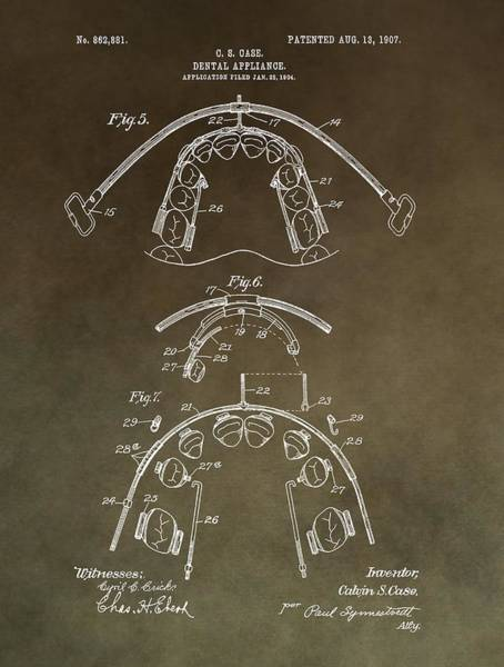 Mixed Media - Vintage Braces Patent by Dan Sproul
