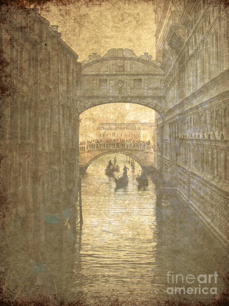 Ancient Architecture Digital Art -  Vintage Bridge Of Sighs In Venice by Patricia Hofmeester