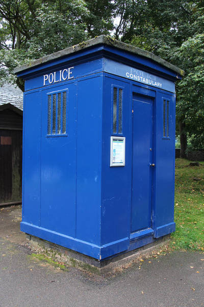Vintage Conway Photograph - Vintage British Blue Police Phone Box by Tom Conway