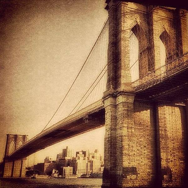 Landmark Wall Art - Photograph - Vintage Brooklyn Bridge.  #brooklyn by Joann Vitali