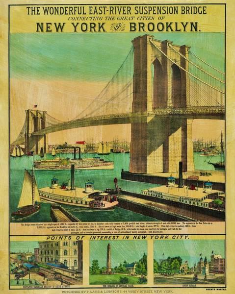 Wall Art - Photograph - Vintage Brooklyn Bridge Poster by Benjamin Yeager