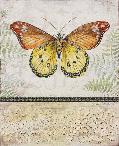 Yellow Ribbon Painting - Vintage Butterfly-jp2565 by Jean Plout