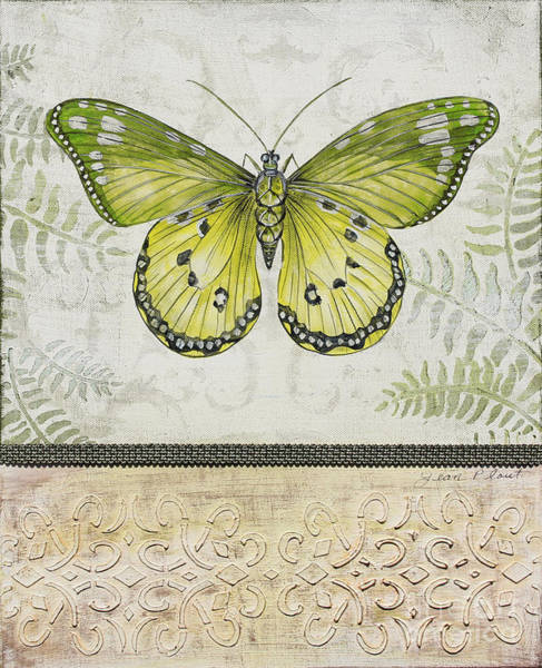 Emboss Wall Art - Painting - Vintage Butterfly-jp2566 by Jean Plout