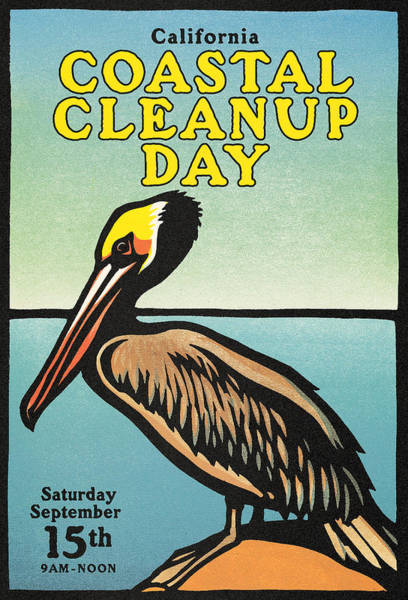 Pelicans Wall Art - Painting - Vintage California Coastal Cleanup Day Pelican Poster by   California Coastal Commission