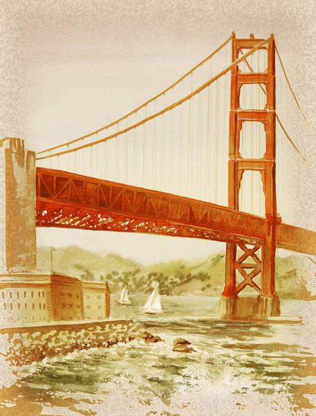 Golden Gate Painting - Vintage California Golden Gate Bridge by Irina Sztukowski