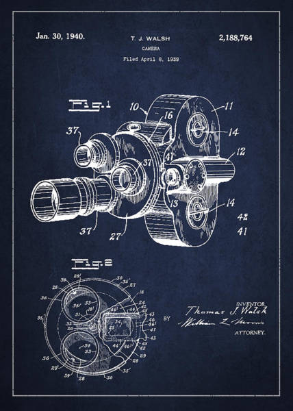 Wall Art - Digital Art - Vintage Camera Patent Drawing From 1938 by Aged Pixel