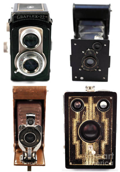 Photograph - Vintage Cameras Collage by John Rizzuto
