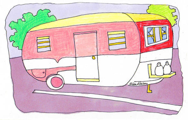 Trailer Drawing - Vintage Camper Trailer by Linda Blondheim