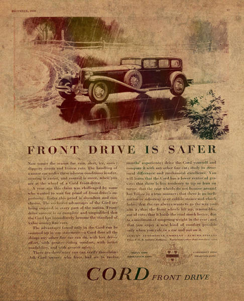 Front Mixed Media - Vintage Car Advertisement 1930 Cord Front Drive Ad Poster On Worn Faded Paper by Design Turnpike
