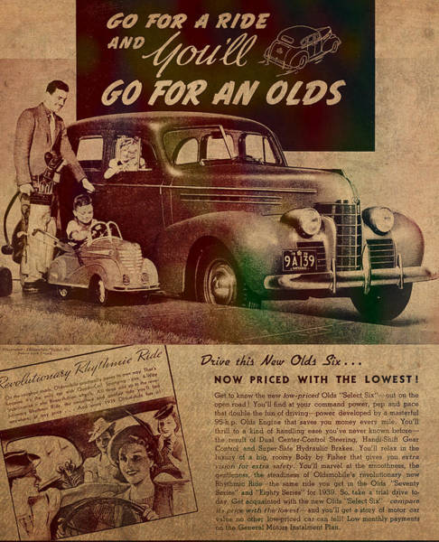 Faded Mixed Media - Vintage Car Advertisement 1939 Oldsmobile On Worn Faded Paper by Design Turnpike
