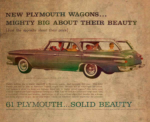 Faded Mixed Media - Vintage Car Advertisement 1961 Plymouth Wagon Ad Poster On Worn Faded Paper by Design Turnpike