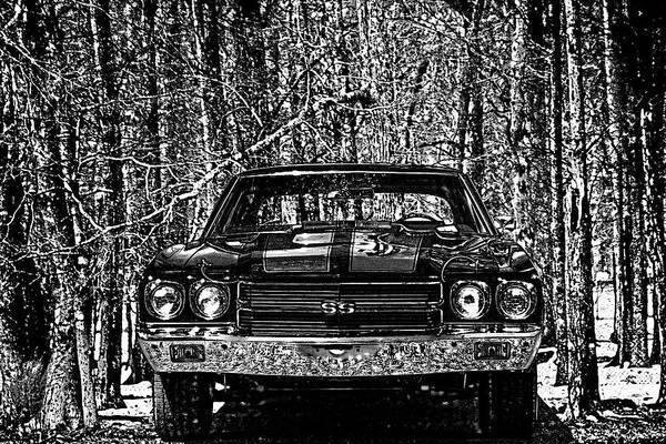 Photograph - Vintage Car Art Chevelle Ss Woodcut by Lesa Fine