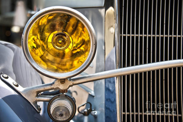 First Light Wall Art - Photograph - Vintage Car Light by Delphimages Photo Creations