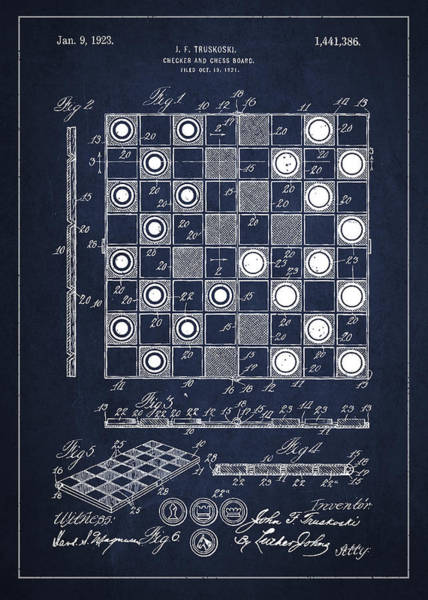 Checker Digital Art - Vintage Checker And Chess Board Drawing From 1921 by Aged Pixel