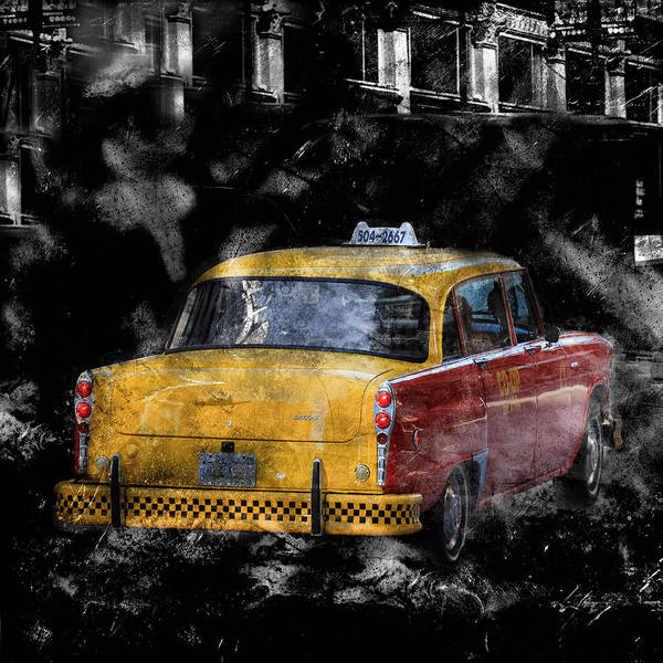 Photograph - Vintage Checker Taxi by Andrew Fare