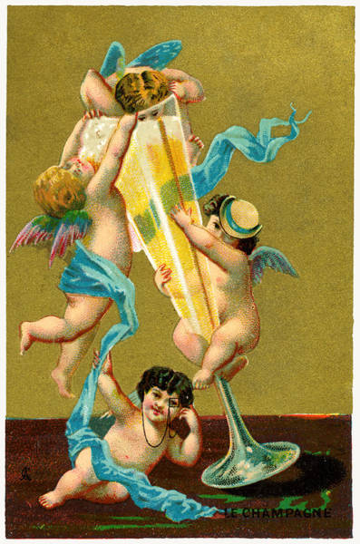 Champagne Painting - Vintage Cherubs Drinking Champagne by Historic Image
