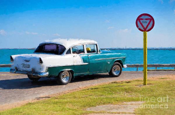 Photograph - Vintage  Chevrolet Belair - Painterly by Les Palenik