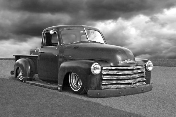 Photograph - Vintage Chevy 1949 Black And White by Gill Billington