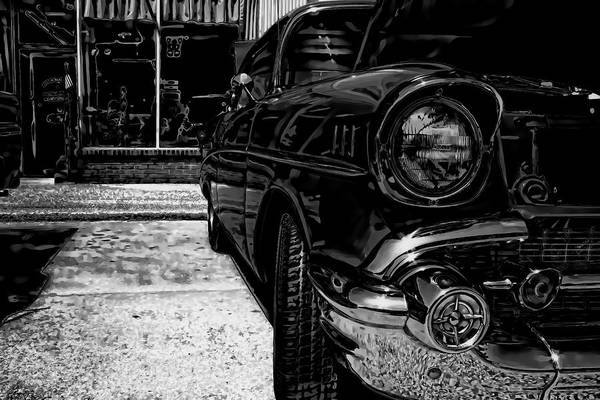 Photograph - Vintage Chevy Car Art Alley Cat Bw by Lesa Fine