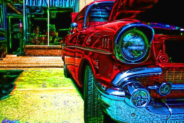 Photograph - Vintage Chevy Car Art Alley Cat Red by Lesa Fine