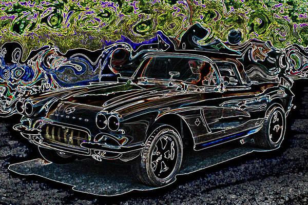 Digital Art - Vintage Chevy Corvette Black Neon Automotive Artwork by Lesa Fine