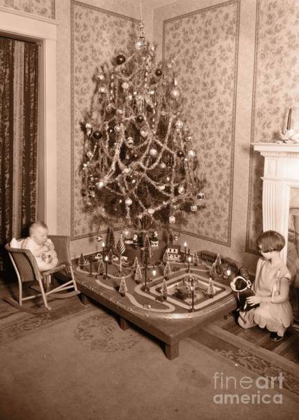 Photograph - Vintage Christmas Tree Card by Edward Fielding