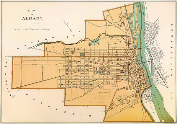 New York City Map Drawing - Vintage City Map Of Albany New York 1895 by Mountain Dreams