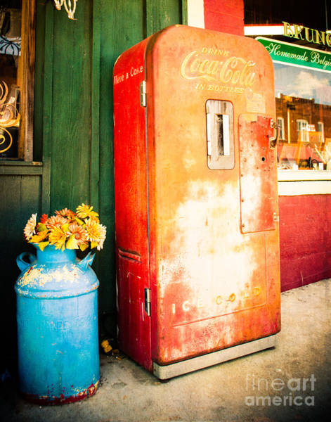 Street Machine Photograph - Vintage Coke Machine by Sonja Quintero