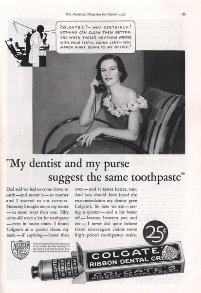 Colgate Wall Art - Photograph - Vintage Colgate Toothpaste Ad by Georgia Fowler