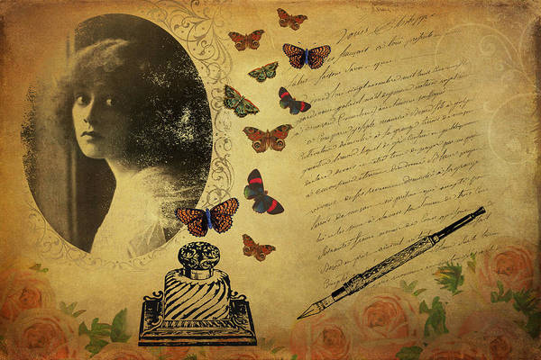 Digital Art - Vintage Collage - The Writer by Peggy Collins