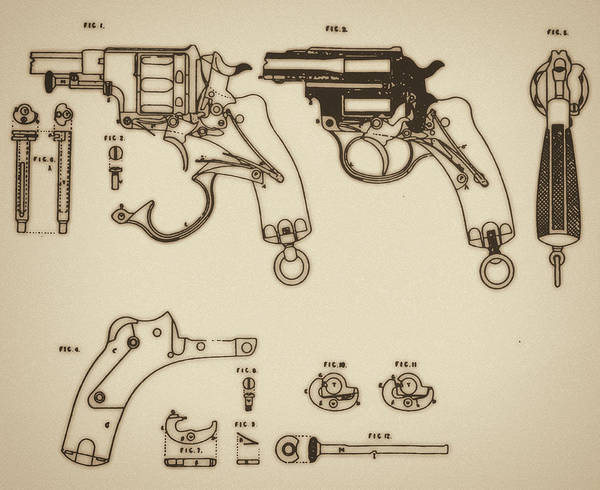 Cut-out Mixed Media - Vintage Colt Revolver Drawing by Nenad Cerovic