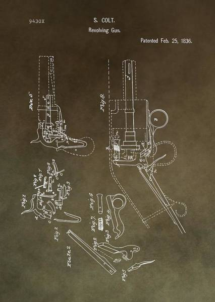 Shooting Mixed Media - Vintage Colt Revolver Patent by Dan Sproul