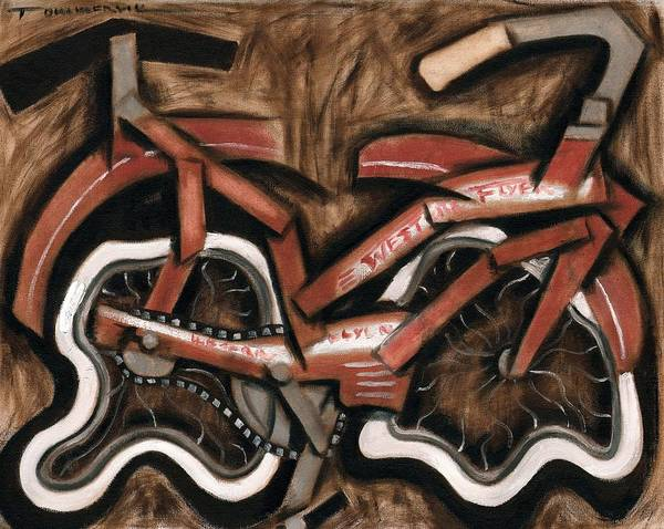 Cruiser Painting - Vintage Cruiser Bicycle Art Print by Tommervik