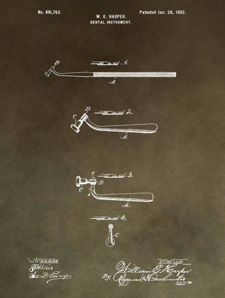 Mixed Media - Vintage Dental Instrument Patent by Dan Sproul