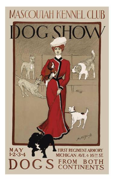 Wall Art - Drawing - Vintage Dog Show Ad Four by John Farr