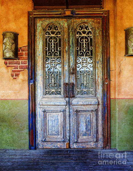 Wall Art - Photograph - vintage door in Hico TX by Elena Nosyreva