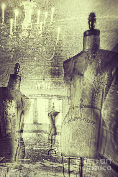 Photograph - Vintage Dressforms With Abstract Grunge Background by Sandra Cunningham