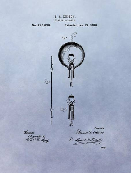Wire Mixed Media - Vintage Electric Lamp Patent Thomas Edison by Dan Sproul