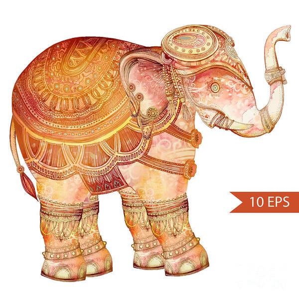 African Tribal Digital Art - Vintage Elephant Illustration. Hand by Polina Lina