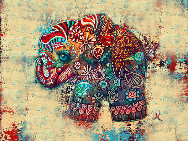 Framed Painting - Vintage Elephant by Karin Taylor