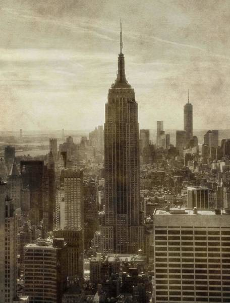Photograph - Vintage Empire State Building Manhattan Skyline by Dan Sproul