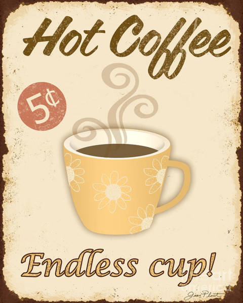 Rustic Digital Art - Vintage Endless Coffee Cup Sign by Jean Plout