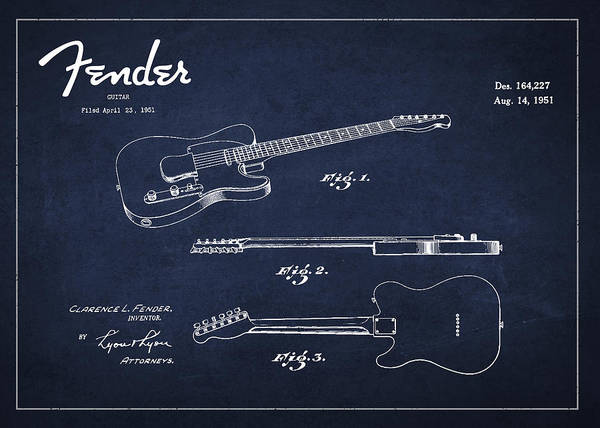 Electric Guitar Wall Art - Digital Art - Vintage Fender Guitar Patent Drawing From 1951 by Aged Pixel