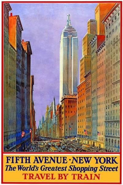 Midtown Manhattan Digital Art - Vintage Fifth Avenue New York Travel Poster by Georgia Fowler