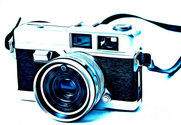 Photograph - Vintage Film Slr Camera Blue by Edward Fielding